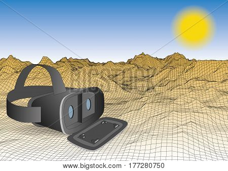 vr headset placed on a wireframed landscape with mountains. 3d concept. Vector illustration