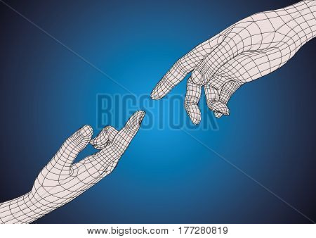 Two Human Hands Pointing Each Other With Index Finger