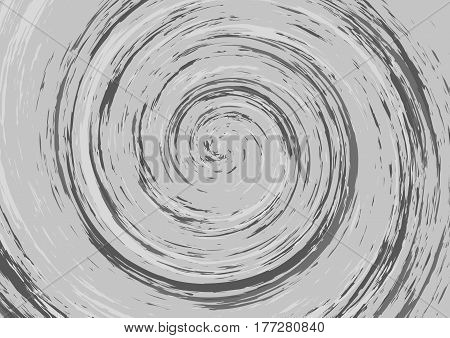 Hypnotic spiral abstract background in gray tones. Swirl. Vertigo dizziness. Vector wallpaper