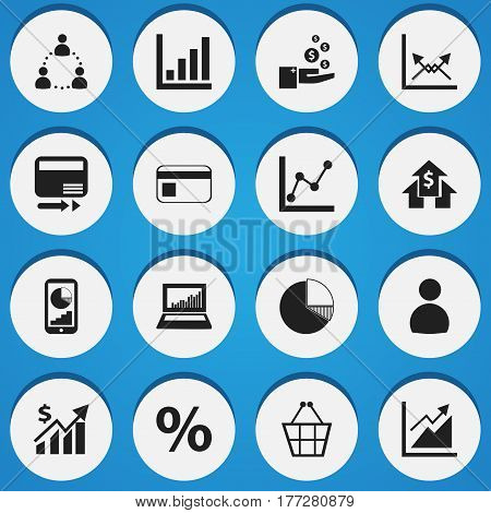 Set Of 16 Editable Analytics Icons. Includes Symbols Such As Banking House, Trading Purse, Progress And More. Can Be Used For Web, Mobile, UI And Infographic Design.