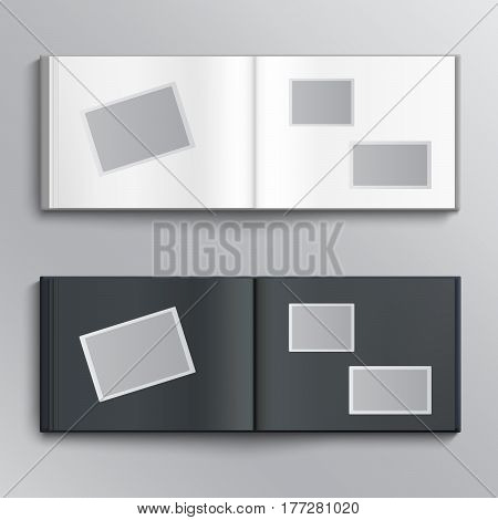 White and dark blanks of photo albums. Vector illustration