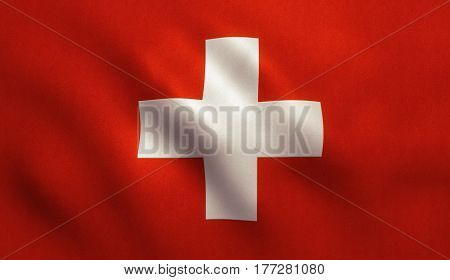 Switzerland national country flag background with fabric texture.