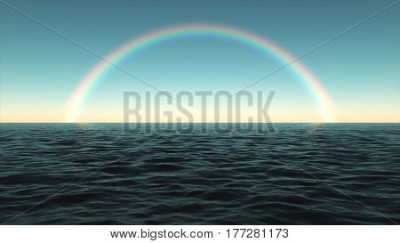 Colorful Rainbow Over The Sea In The Afternoon