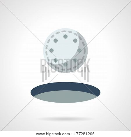 Symbol of golfing hit, hole in one. Golf ball falling into aim. Flat color style vector icon.