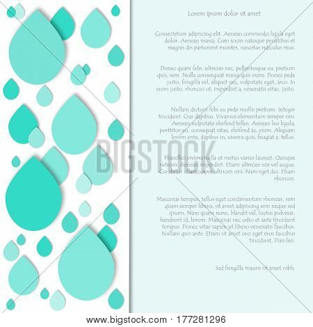 Cutout water drops paper collage.Vector background. 3d geometric design for banner, cover, brochure, flyer, template. Concept of international water day.