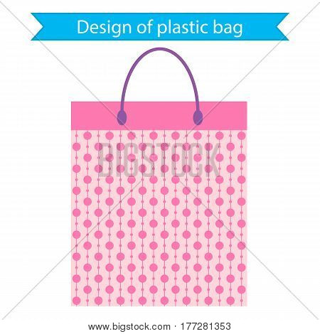 Design of plastic bag. vector illustration. packaging bag for gift or products from the store.