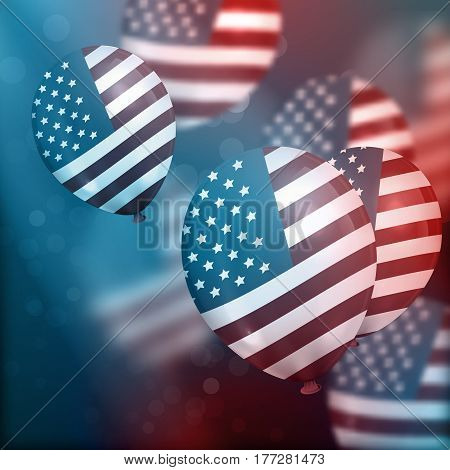 Vector background with realistic air balloons with American flag. Concept of Happy Independence Day.