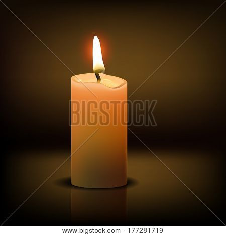 Beautiful Isolated realistic candle at dark. Vector illustration