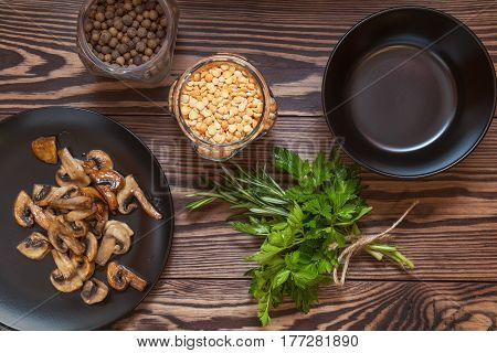 Fried Mushrooms In Black Plate