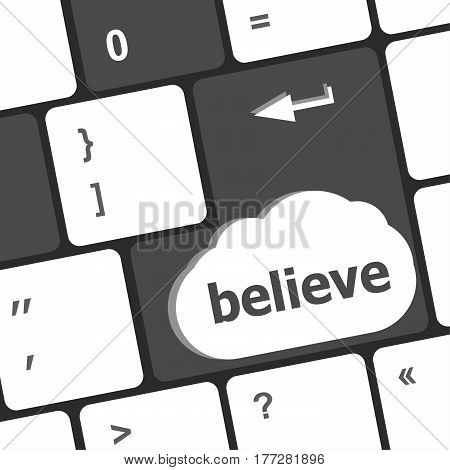 Social Media Key With Believe Text On Laptop Keyboard