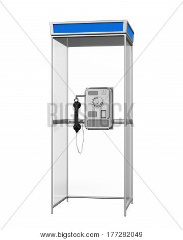 Telephone Booth isolated on white background. 3D render