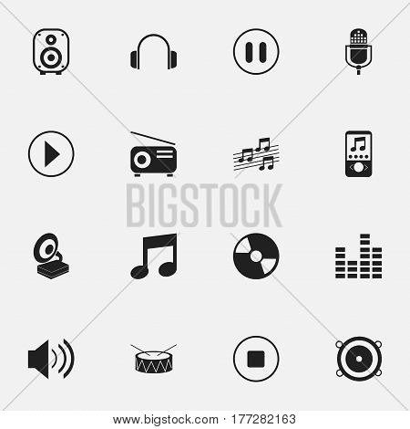 Set Of 16 Editable Sound Icons. Includes Symbols Such As Phonograph, Stop, Snare And More. Can Be Used For Web, Mobile, UI And Infographic Design.