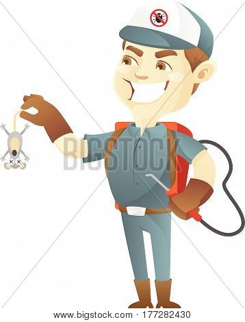 Pest control service killing rats isolated in white background