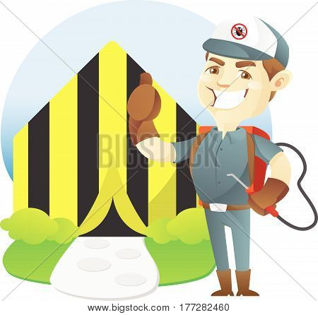 Pest control service tenting home isolated in white background