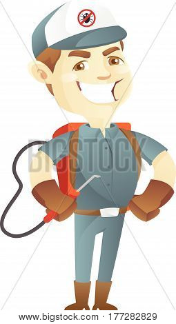 Pest control service holding pest sprayer isolated in white background