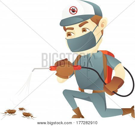 Pest control service killing bugs isolated in white background