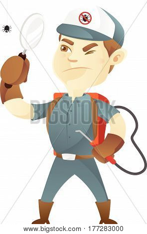 Pest control service holding magnifying glass isolated in white background