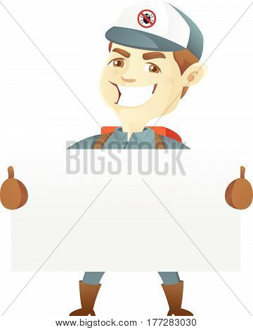Pest control service holding blank sign isolated in white background