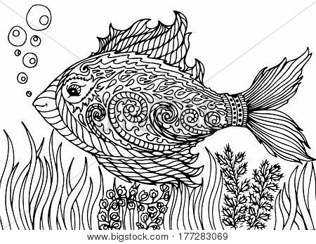 Zen tangle stylized abstract fish isolated on white background. Hand drawn sketch for adult antistress coloring page T-shirt emblem logo tattoo with doodle zen tangle floral elements.