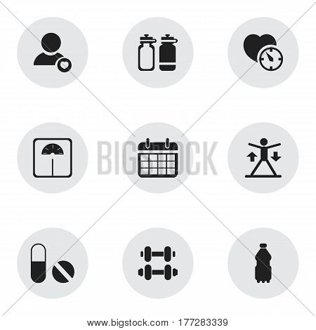 Set Of 9 Editable Training Icons. Includes Symbols Such As Fitness Drink, Pill, Sport Water And More. Can Be Used For Web, Mobile, UI And Infographic Design.