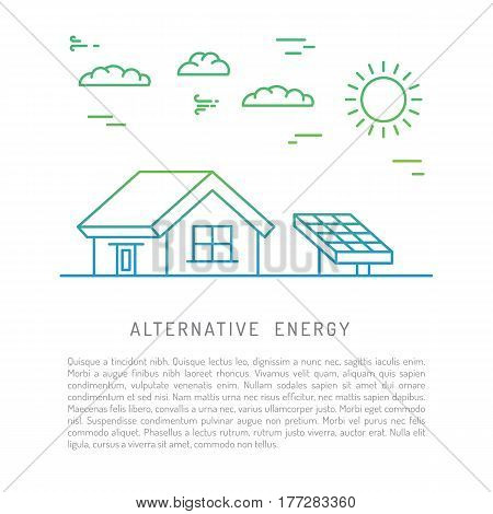 The concept of using alternative renewable energy sources are drawn in a linear style, isolated on white background. The use of green energy solar use for lighting and heating the home.