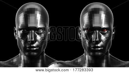 Low poly abstract portrait of a two black humanoids with black and red eyes . Cybernetic Futuristic Concept for your Design. 3d