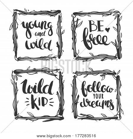 Vector hand drawn lettering in floral square frames isolated on white.