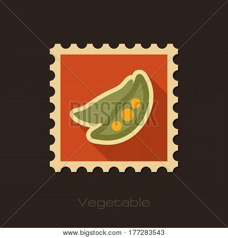 Pea flat stamp. Vegetable vector illustration eps 10