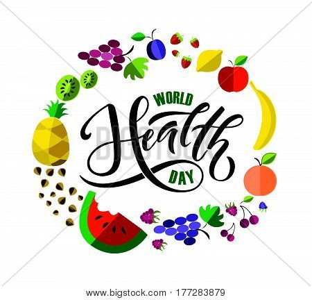 Hand Sketched Text 'world Health Day' On Textured Background. Lettering Typography