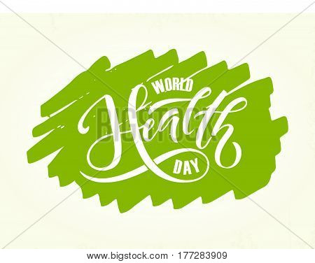 Hand sketched text 'World Health Day' on textured background. World Health Day hand drawn text for postcard card banner template. World Health Day vector lettering typography.