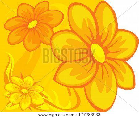 floral design yellow orange - vector illustration