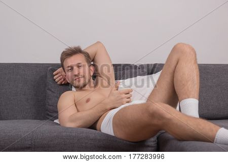 One Young Man Lying Laying Bed Smirk