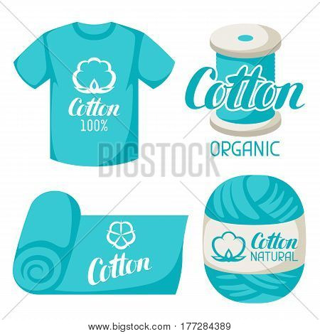 Cotton label on t-shirt fabric thread yarn. Emblems for clothing and production.