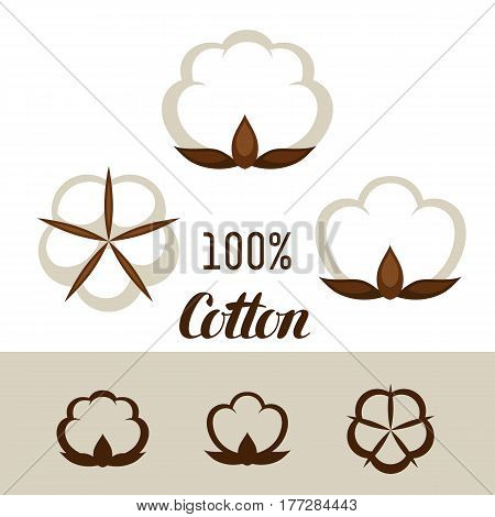 Set of cotton icons. Emblems for clothing and production.