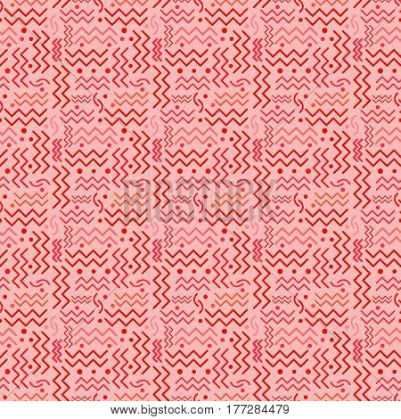 A funky seamless red Memphis style design on pink.