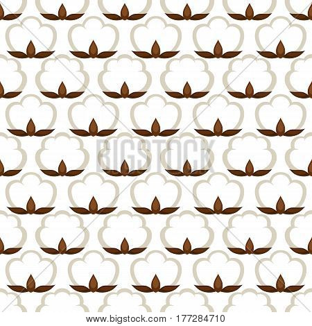 Seamless pattern with cotton bolls. Stylized illustration.