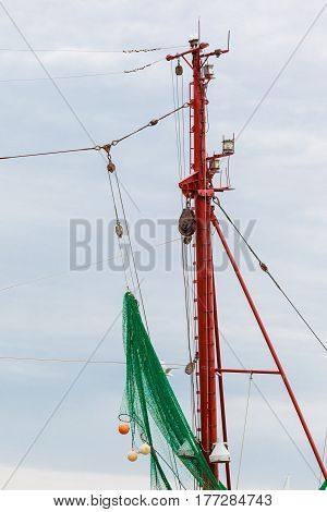 Yachting many ropes and fishing nets on sailing boat yacht objects concept.