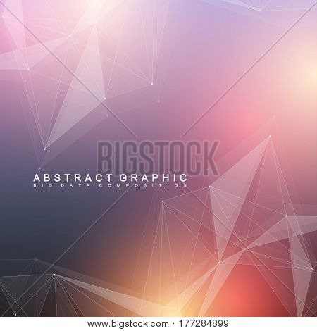 Geometric scientific background molecule and communication. Big data complex with compounds. Perspective graphic backdrop. Digital data visualization. Minimalistic chaotic design, vector illustration