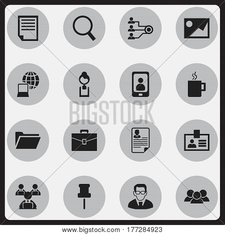 Set Of 16 Editable Bureau Icons. Includes Symbols Such As Group, Document, World And More. Can Be Used For Web, Mobile, UI And Infographic Design.