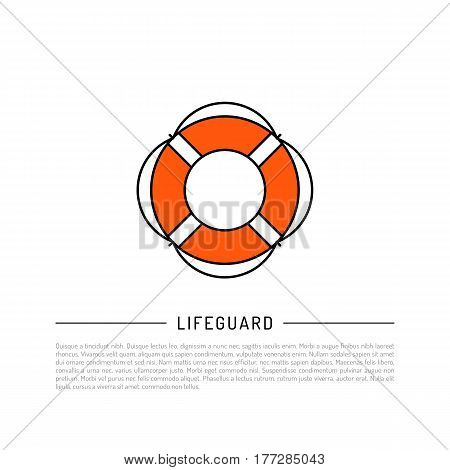 Flat vector icon lifebuoy in cartoon style isolated on white background. Orange lifebuoy equipment for rescue of drowning