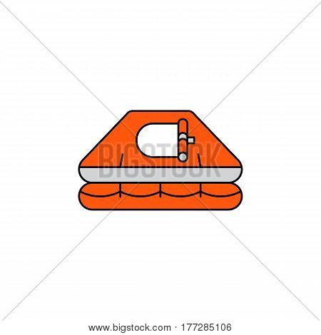 Flat vector icon Life raft in cartoon style isolated on white background. Orange rescue Life raft equipment for rescue of drowning