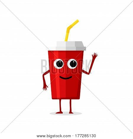Funny and cute soda drink red paper cup character isolated on white background. Cola with smiling human face vector illustration.