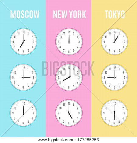 Time zones clocks vector template. Vector illustration design