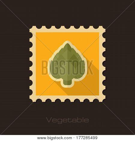 Artichoke flat stamp. Vegetable vector illustration eps 10