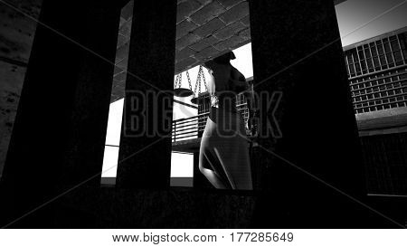 Prison bars and a hallway 3d rendering