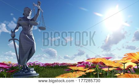 Lady of justice and flowers - 3d illustration