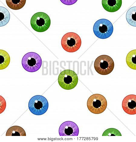 Eyes seamless pattern on white background. Eyeballs iris concept vector illustration.