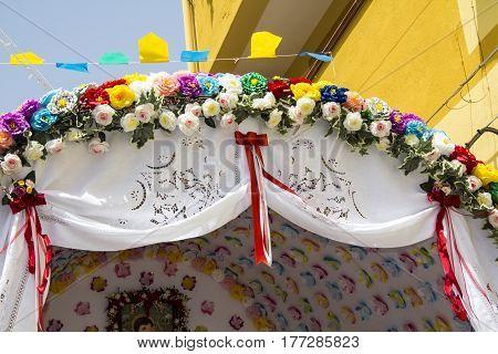 QUARTU S.E., ITALY - July 28, 2012: Feast of St. John, decorations of a wagon (traccas) - Sardinia
