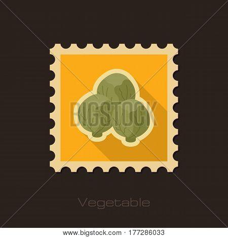 Brussels sprouts flat stamp. Vegetable vector illustration