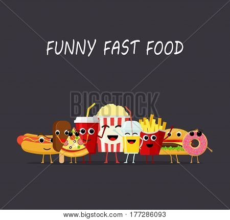 Funny fast food characters isolated on dark background. Happy smile cartoon face fastfood, comical snack vector illustartion